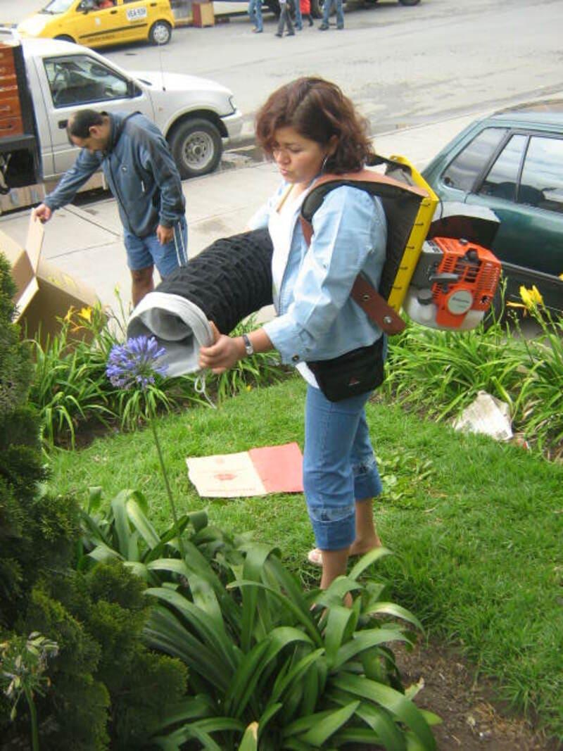 Aspiradora a gasolina liviana para jardines domésticos o parques de recreación.