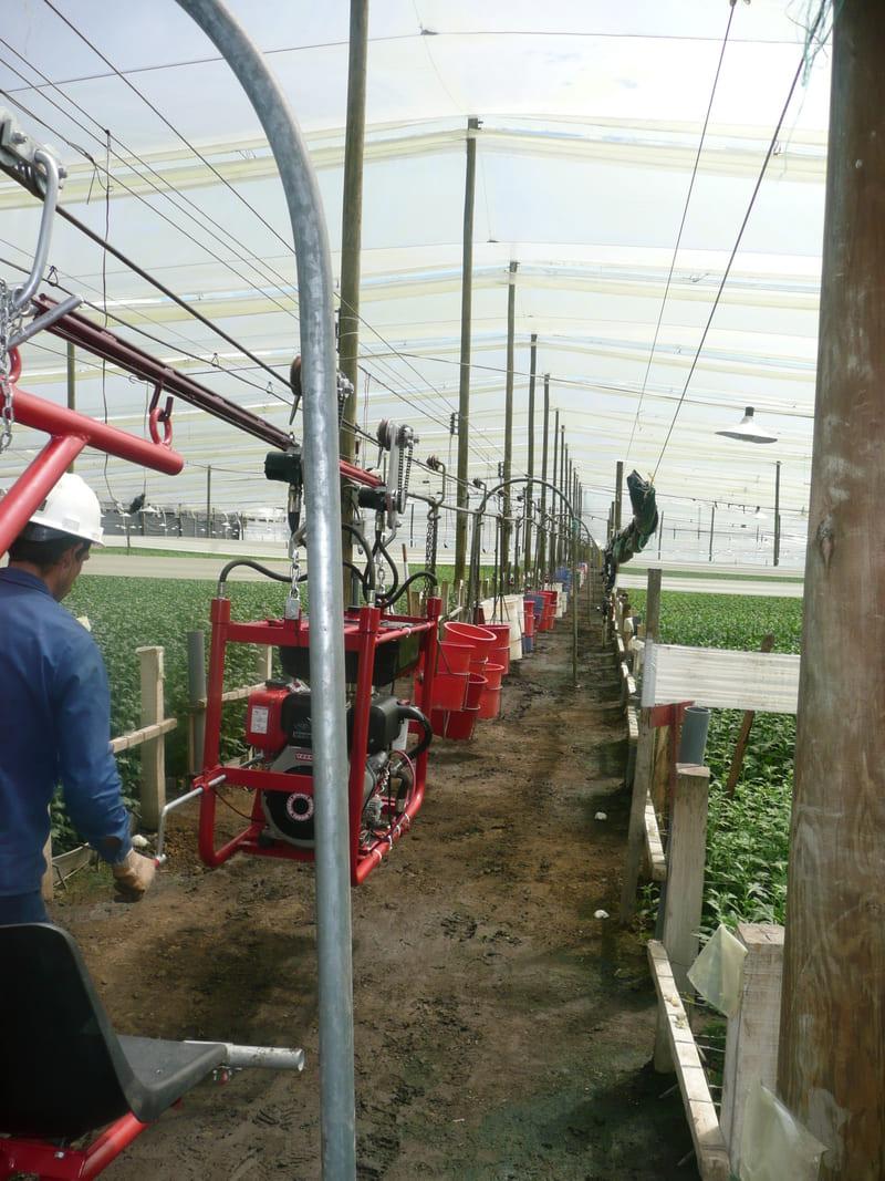 Trenes de carga con Valdés para transporte de crisantemos mediante halado con tractor aéreo (capacidad hasta 5Ton).